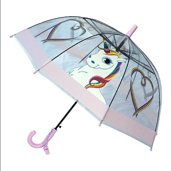 🦄Foxfire Lilac Clear Dome Unicorn Heart Umbrella
